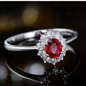 Vintage Oval Cut Ruby 925 Silver Jewelry WomenRing